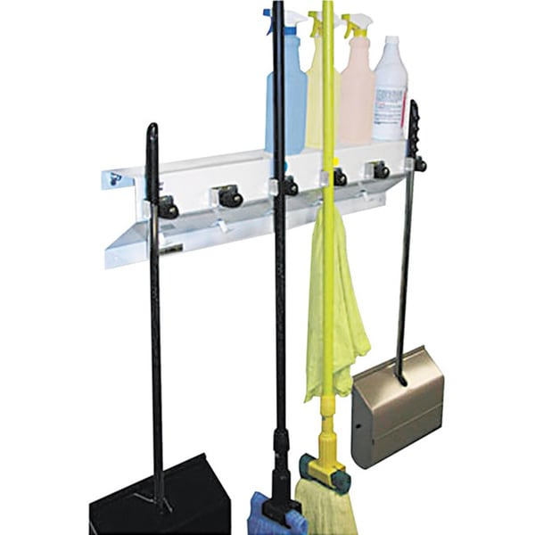 Ex Cell Glossy White Metal Mop And Broom Holder With Six