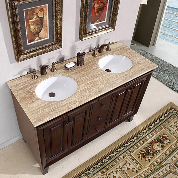 Silkroad Exclusive Alameda 55-inch Double-sink Dark Brown ...