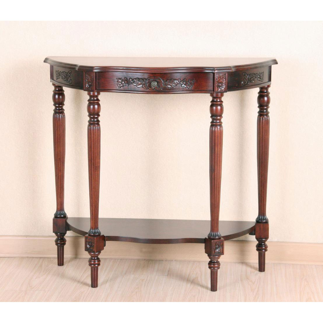Hand Carved Rich Oak Wood Half Round Asian Style Living