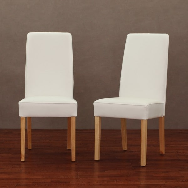 Modern White Dining Room Chairs: Modern White Leather Dining Chair (Set Of 2)