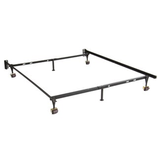 Adjustable Twin Full Steel Bed Frame With 4 Casters