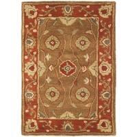 Safavieh Handmade Heritage Timeless Traditional Beige/ Rust Wool Rug - 2' x 3'