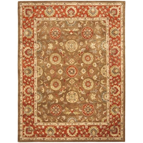 Safavieh Handmade Heritage Timeless Traditional Beige/ Rust Wool Rug - 7'6 x 9'6
