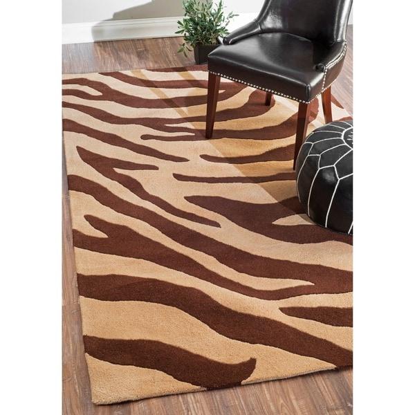 NuLOOM Handmade Modern Zebra Brown/ Beige Wool Rug (4' X 6