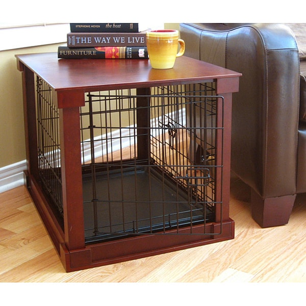 Dog Crate Kennel Black Wood Metal Pet Playpen Cage Tray