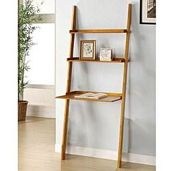 Oak 2 Piece Leaning Ladder Shelf 13392802 Overstock Com Shopping Great Deals On Media