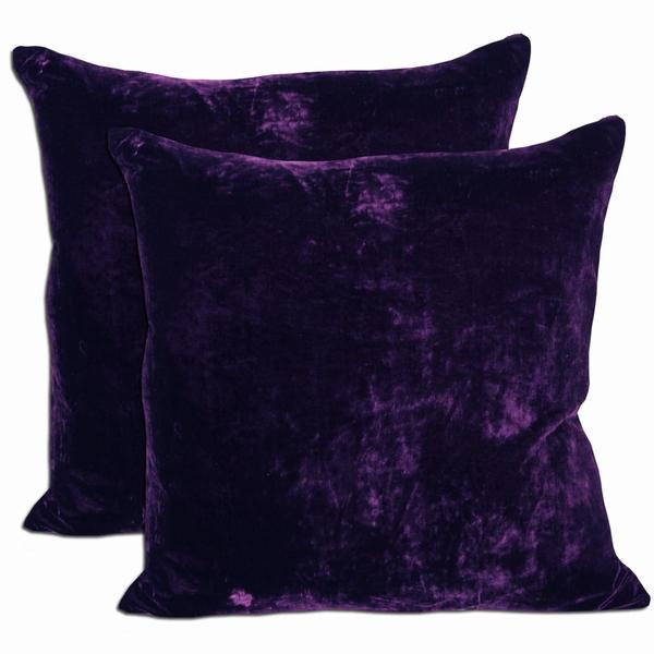 Purple Velvet Feather And Down Filled Throw Pillows Set