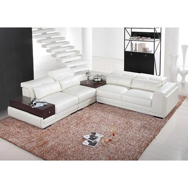 Italia Designs White Leather Sectional Sofa 13401115