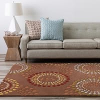 Hand-tufted Brown Contemporary Circles Mayflower Wool Geometric Area Rug - 6' x 9'