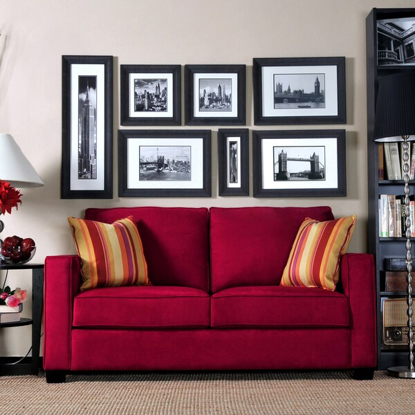 Portfolio Madi Crimson Red Microfiber Sofa With Wine