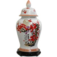 Handmade Porcelain 18-inch Cherry Blossom Temple Jar (China)