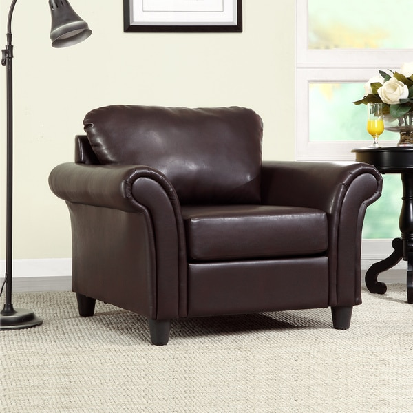 TRIBECCA HOME Petrie Dark Brown Faux Leather Rolled Arm