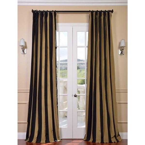 Exclusive Fabrics Black Gold Stripe Faux Silk Taffeta