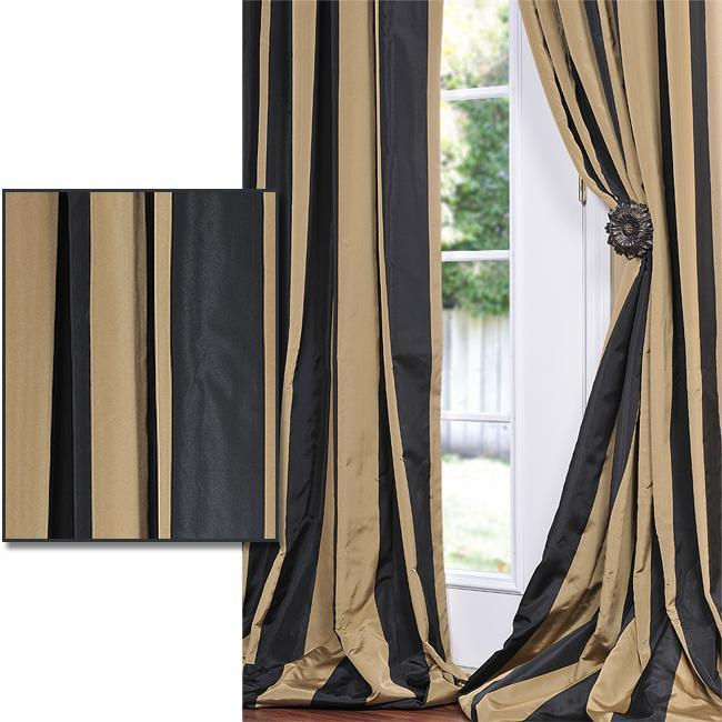 Eff Black Gold Stripe Faux Silk Taffeta 120 Inch Curtain