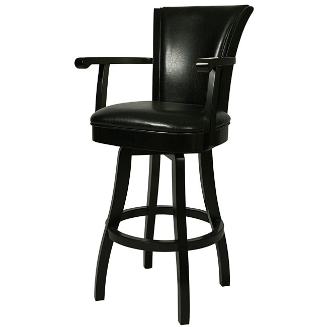 Glenwood 26 Inch Feher Black Wood Swivel Bar Stool