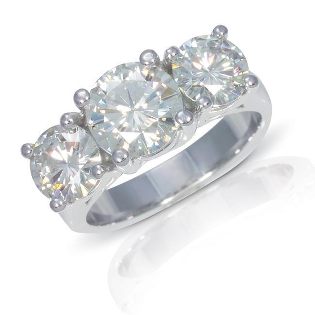 14k White Gold Moissanite Ring - 12991311 - Overstock.com ...