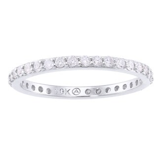 10k White Gold 1/2ct Diamond Stackable Eternity Band Ring - White H-I