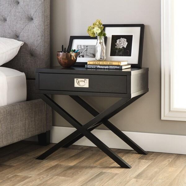 Napa Black 1 Drawer Bedside Table 13441089 Overstock