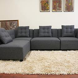 Alcoa Grey Fabric Modular Modern Sectional Sofa 13449291