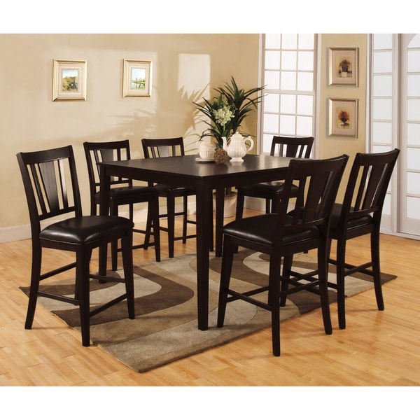 7 Piece Counter Height Dining Room Sets: Bension Espresso 7-piece Counter-height Dining Set