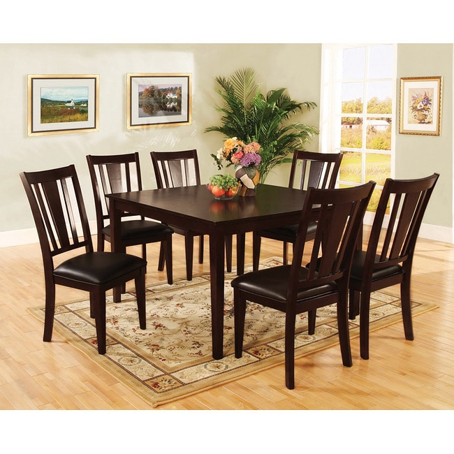 Tribecca Home Acton Warm Merlot X Back Casual Dining Side: Bension Espresso 7-piece Dining Set