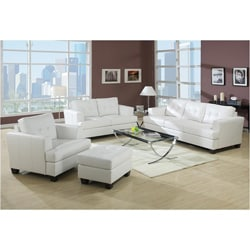 Rialto Bonded Leather White Chair 13849874 Overstock