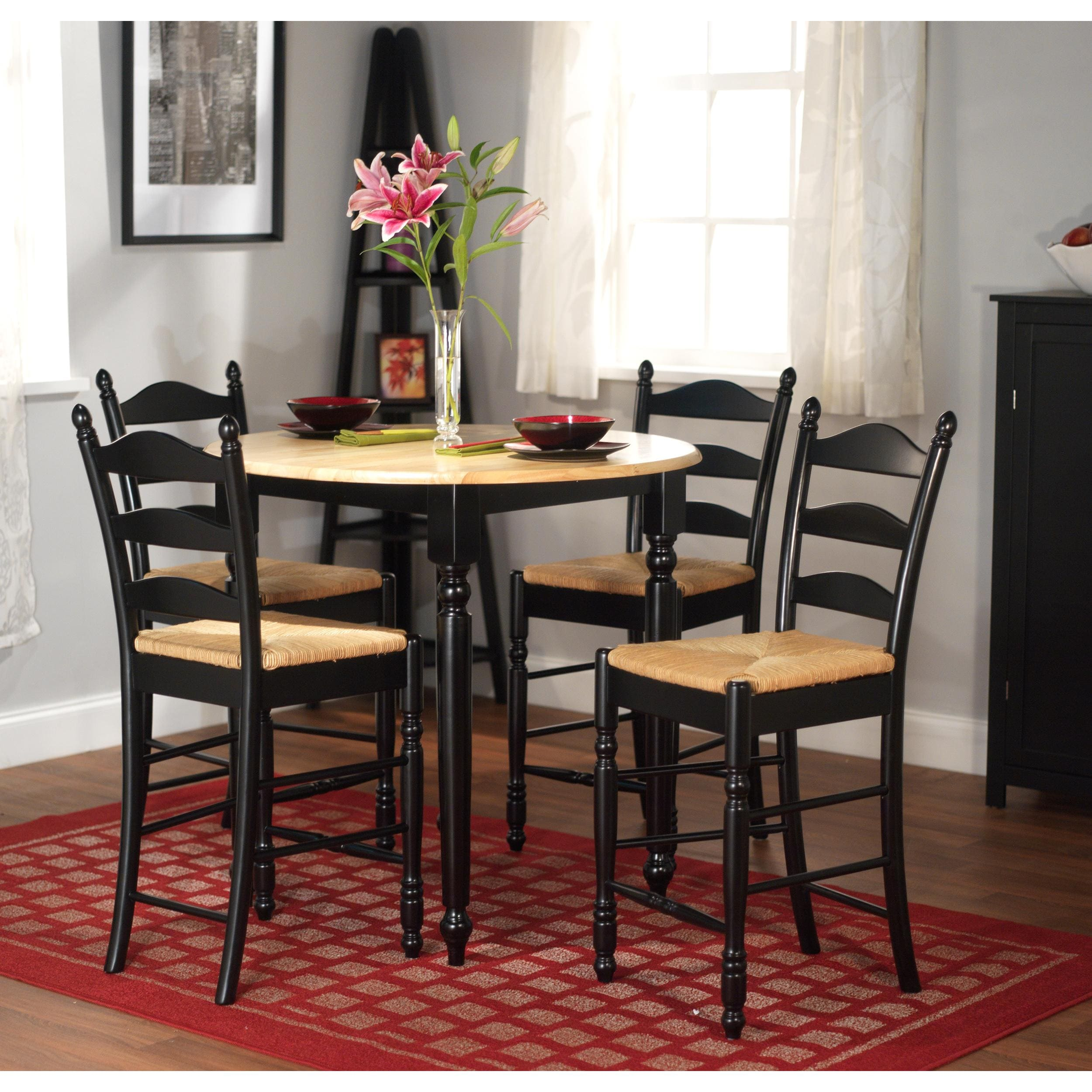 5 Piece Round Dining Set: Simple Living Round Counter Height 5-piece Dining Set