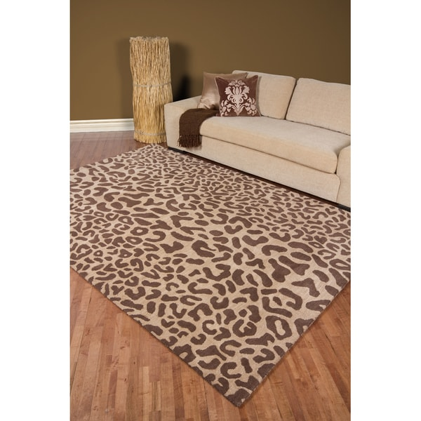 Hand Tufted Brown Leopard Whimsy Animal Print Wool Rug 7