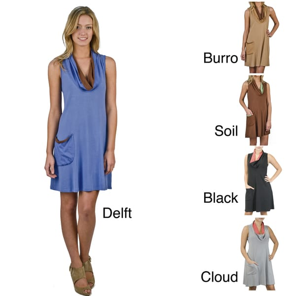 Draped Cowl Neck Dress: AtoZ Women's Cap Sleeves Draped Cowl Neck Tunic Dress