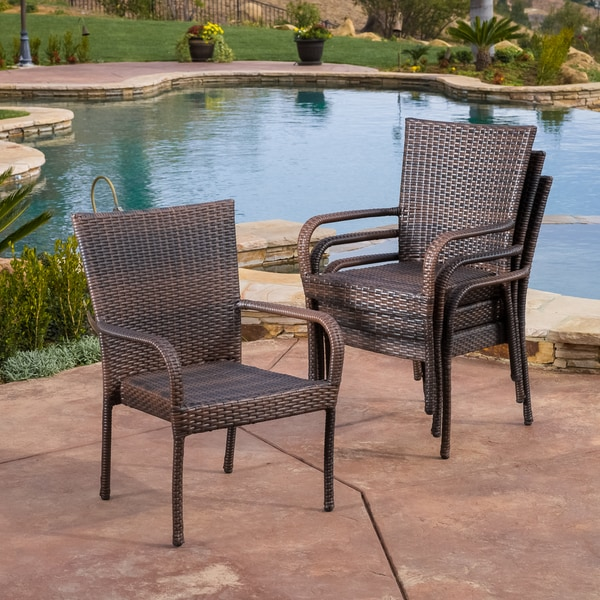 Christopher Knight Home Outdoor Pe Wicker Stackable Arm