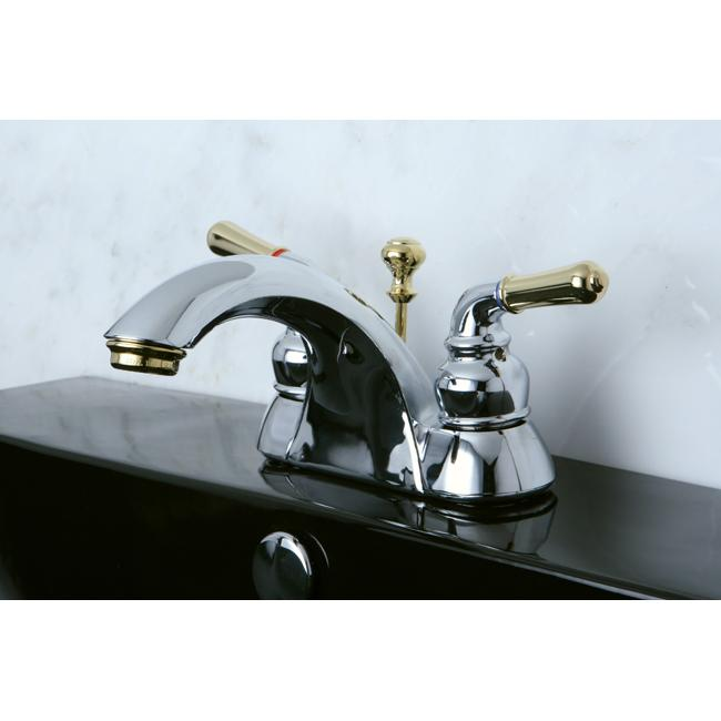 Two Tone Chrome And Brass Bathroom Faucet 13470760
