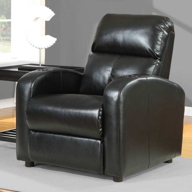 Tracy Black Bonded Leather Recliner 80002076 Overstock
