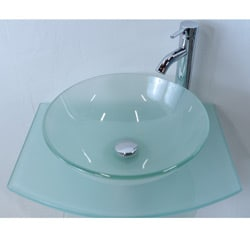 Kokols Bathroom Vanity Pedestal And Frosted Glass Vessel Sink Combo Set 13471073 Overstock