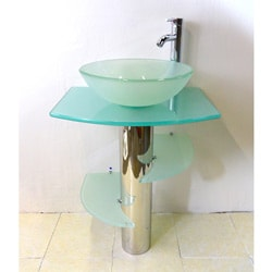 Sale Kokols Bathroom Vanity Pedestal And Frosted Glass Vessel