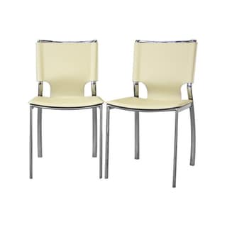 Peachy Buy Montclare Ivory Leather Modern Dining Chair Set Of 2 Ncnpc Chair Design For Home Ncnpcorg