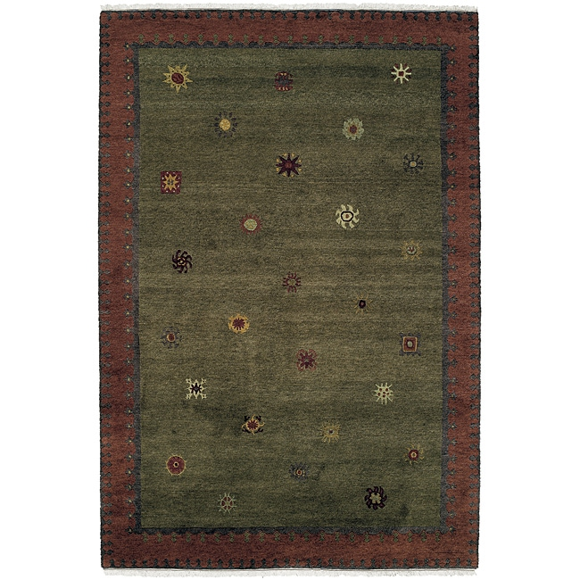 Nepalese Hand-knotted Green Sol Moss Wool Rug (2' X 3