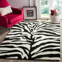 Safavieh Zebra Shag Off-White/ Black Rug - 5'3 x 7'6