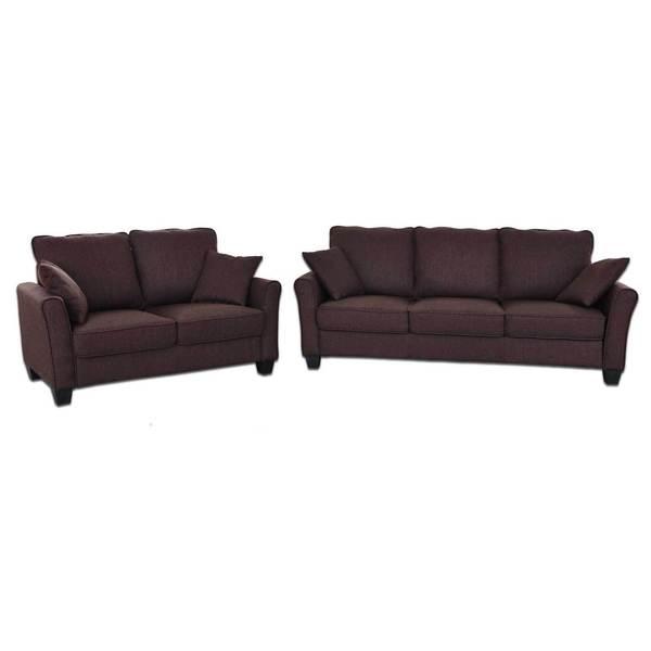 Fountain Valley Dark Brown Microfiber Sofa And Love Seat