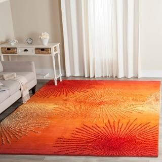 Hand Tufted Mystical Orange Wool Rug 5 X 8 10438793