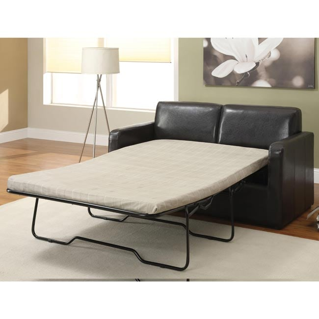 LIVING Aspen Espresso Brown Leather Foldable Futon Sleeper Sofa Bed
