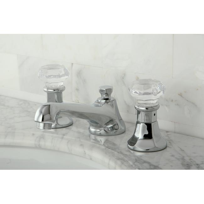 Crystal handle chrome widespread bathroom faucet - Gold bathroom faucets with crystal handles ...