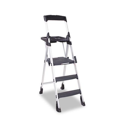 Cosco 3 Step Aluminum Black Folding Step Stool 13508637