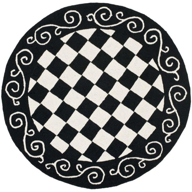Black And White Checkerboard Rug: Safavieh Hand-hooked Diamond Black/ Ivory Wool Rug (4