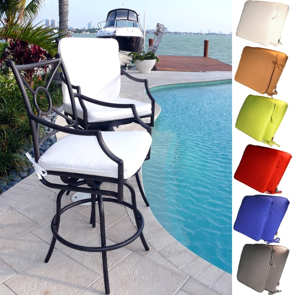 Comfort Care Cast Aluminum With Armrest Outdoor Swivel Barstools Set Of 2