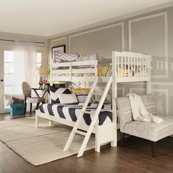 Tribecca Home Simone Soft White Twin Full Bunk Bed