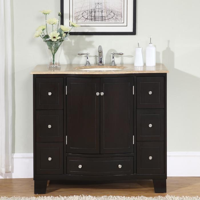 Silkroad Exclusive 40 Inch Single Sink Cabinet Bathroom
