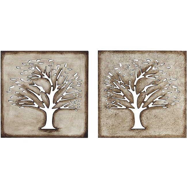 Wood Crafted Tree Wall Art Set Of 2 13552728