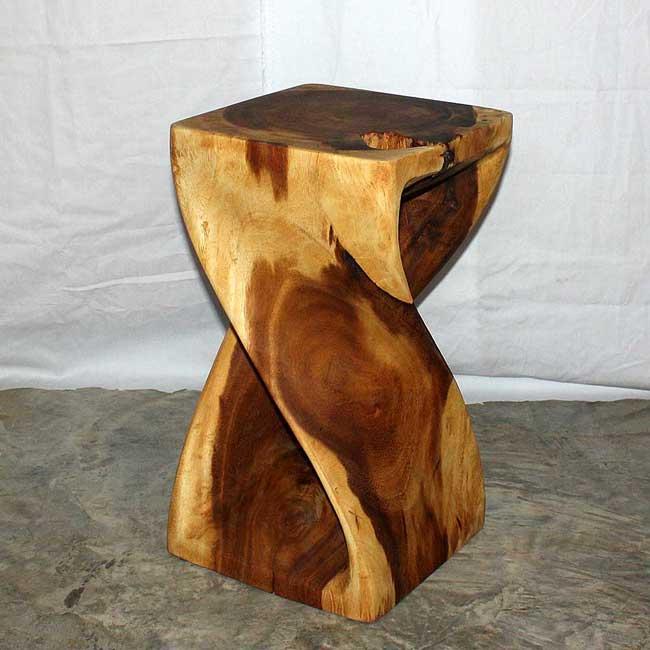 12 Inches Square X 20 Inch Monkey Pod Wood Twist Oak Oil