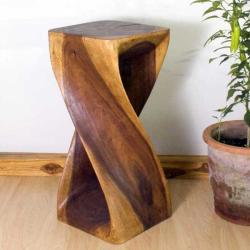 12 Inches Square X 26 Inch Monkey Pod Wood Twist Walnut
