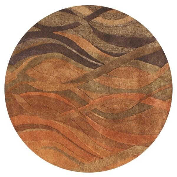 Alliyah handmade multi abstract new zealand blend wool rug 6 round 8ebc4ac2 f7d9 40aa bbfe eb399e241532 600